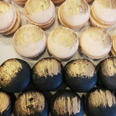 White and Black Macarons with Gold Leaf by Petite Astorias, Escondido, California